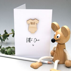 Hello Little One Wooden Babygrow Card