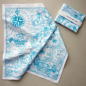 Tropical Island Treasure Map Hankie - handkerchiefs