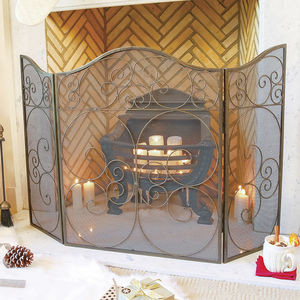 Antique Brass Fire Protector With Mesh Spark Protector - living room