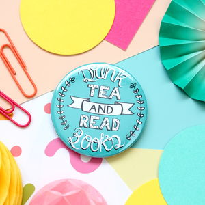 Tea And Books Badge Or Pocket Mirror
