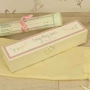 Personalised Birth Certificate Keepsake Box - christening gifts