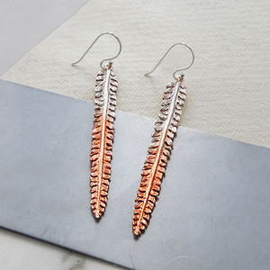 Feather Drop Rose Gold And Silver Earrings