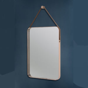 Rectangular Copper And Leather Hanging Wall Mirror - mirrors