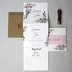 Watercolour Peony Wedding Invitation Suite - invitations