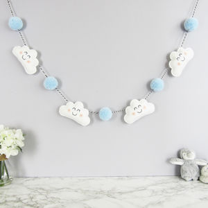 Cloud Garland With Coloured Pom Poms - baby shower gifts & ideas