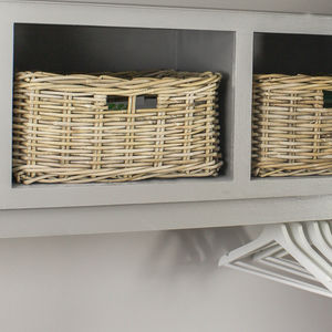 Grey Wash Rattan Shelf Basket