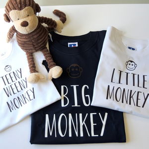 Personalised Father, Son And Baby Monkey T Shirts - parent and child sets