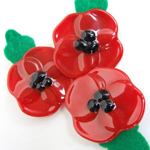 Handmade Fused Glass Poppy Brooch With Felt Leaf