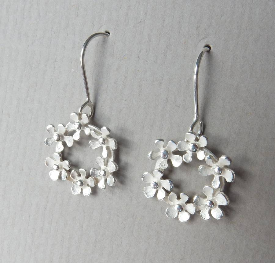 Bouquet Silver Drop Earrings