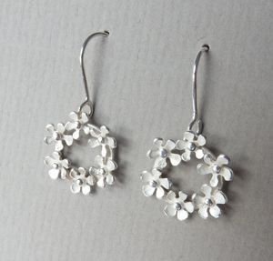 Bouquet Silver Drop Earrings - earrings