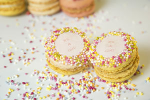 100 'It's A Girl'! Mini French Macarons - party bags and ideas