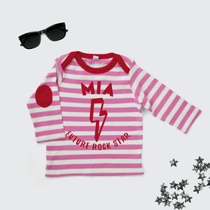 Personalised Future Rock Star Top In Pink And White