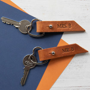 Couples Pair Of Personalised Leather Heart Keyrings - 3rd anniversary: leather