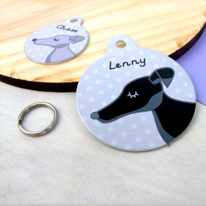 Greyhound/ Whippet Personalised Pet Tag - pet tags & charms