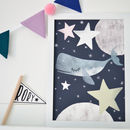 A Whale In Space Children's Nursery Print