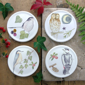 Winter Bird Bone China Coasters