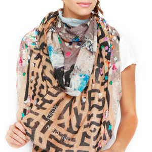Womens Printed Cashmere Silk Scarf, Le Marais Confetti - gifts for mothers