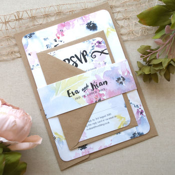 Floral Bloom Wedding Invitation with Belly Band