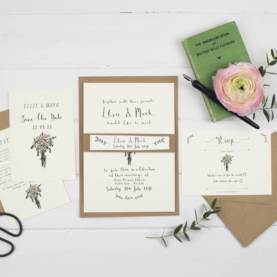 Bespoke Elsie Postcard Wedding Invitation By Wildflower