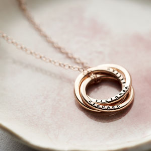 Personalised Rose Gold Russian Ring Necklace - necklaces & pendants