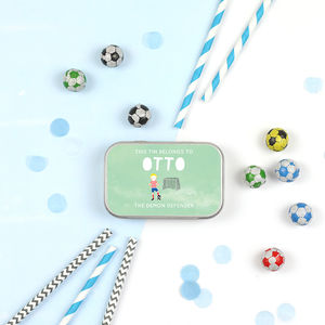 Personalised Football Themed Keepsake Gift Tins - decoration