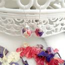 Sterling Silver Glass And Berry Pink Petal Earrings