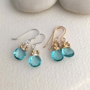 Aquamarine Quartz Drop Earrings