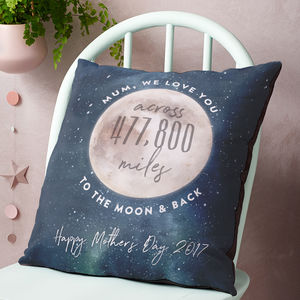 Love You Across The Miles To The Moon And Back Cushion - mother's day gifts
