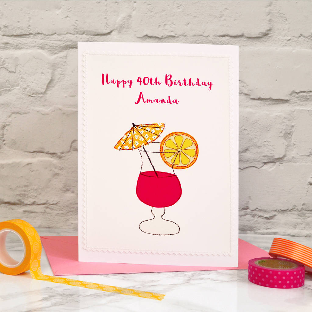 Cocktail Personalised Handmade Birthday Card