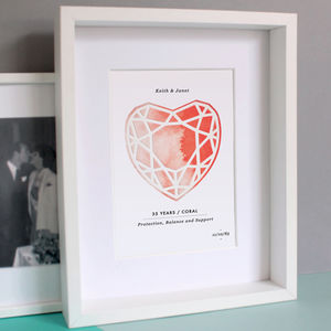Coral 35 Years Anniversary Personalised Papercut Print