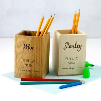 Personalised Genius At Work Pen Pot