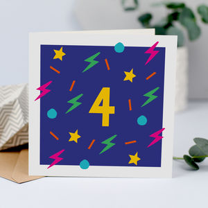 4th Birthday Card, Unisex Card For Four Year Old