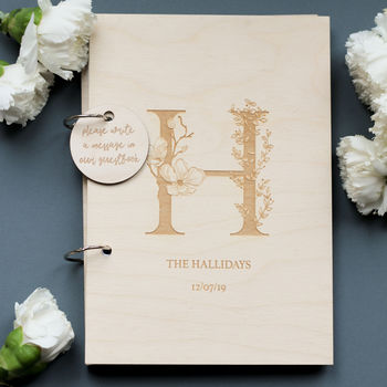 Personalised Monogram Initial Wooden Guest Book