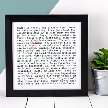 Rugby Print; Sport Lover Gift