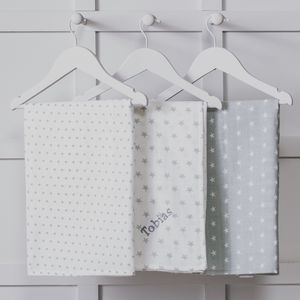 Personalised Three Pack Grey Muslin Squares