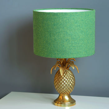 Green Harris Tweed Wool Lampshade