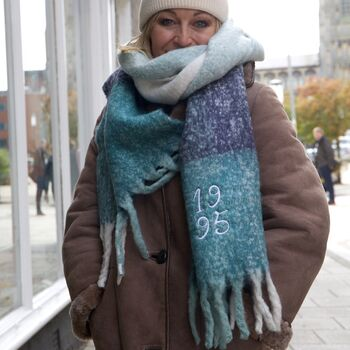 Embroidered Year Blue Block Stripe Blanket Scarf