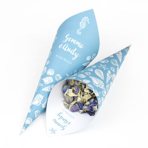 Coastal Personalised Wedding Cones With Confetti