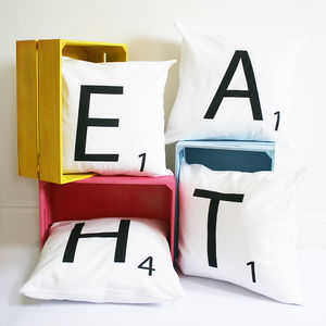 Personalised Monochrome Scrabble Style Cushion Cover