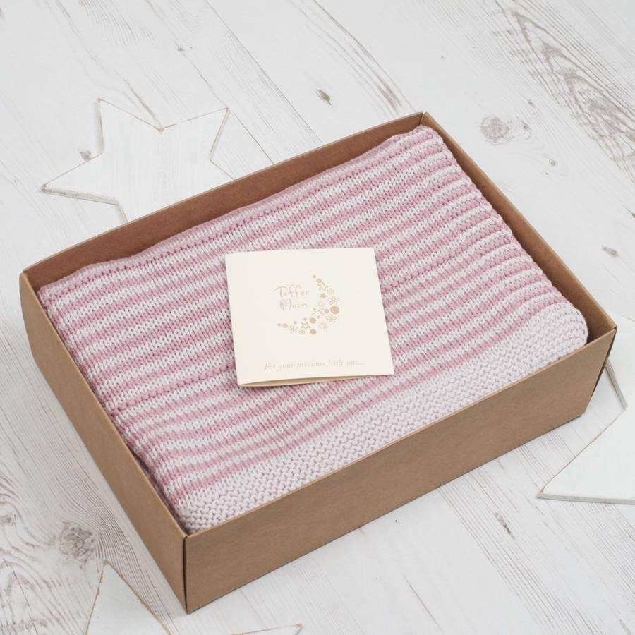 baby girl dainty stripe blanket by toffee moon  9ee0c0db4faa