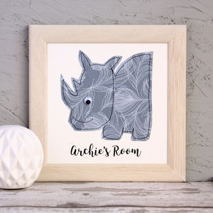 Personalised Rhino Embroidered Framed Artwork