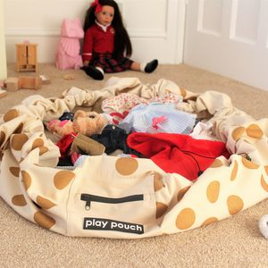 Glitter Gold Dots Printed Toy Storage Bag And Play Mat - storage & organisers
