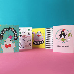 Penguin And Shark Christmas Cards Pack Of Five - cards & wrap
