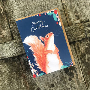 Red Squirrel Christmas Card Blank Inside