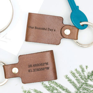 Leather Coordinate Keyring - frequent travellers