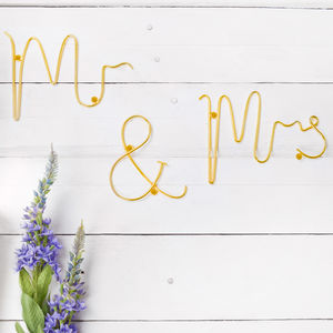 Gold Wire 'Mr And Mrs' Words - new in wedding styling
