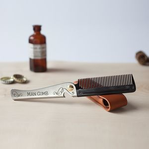Limited Edition Man Comb 'Black' With Leather Case - grooming gift sets