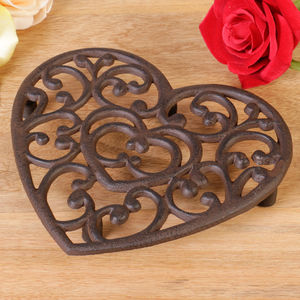 6th Anniversary Cast Iron Heart Trivet - dining room
