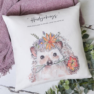 Watercolour Hedgehog Personalised Cushion Cover - personalised cushions