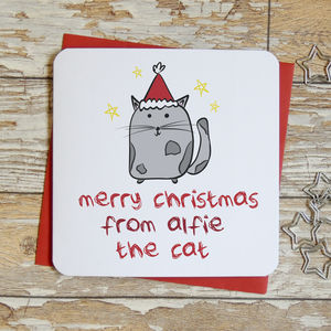 Merry Christmas From The Cat Xmas Card - cards sent direct